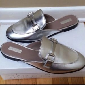 TOPSHOP 'Kylie' Silver Metallic Leather Mules